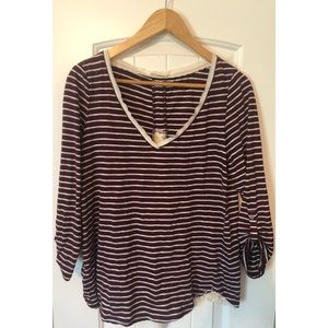 Anthropologie Maroon and white top with lace inset
